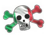 Pirate Style SKULL & CROSSBONES With Italy Italian il Tricolore Flag Motif External Vinyl Car Sticker 128x84mm
